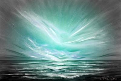 Painting - Flight At Sunset - Teal Abstract Sunset by Gina De Gorna