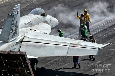Flight Deck Crew Position An Fa-18e Art Print