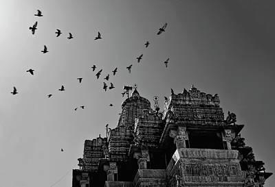 Flight Of Birds Above Jadgish Temple Print by Prashanth Naik