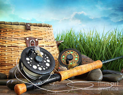 Photograph - Flly Fishing Equipment And Basket  by Sandra Cunningham