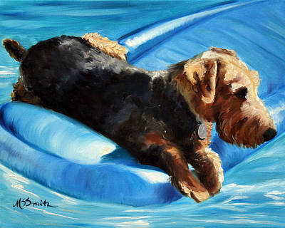 Airedale Terrier Painting - Float by Mary Sparrow