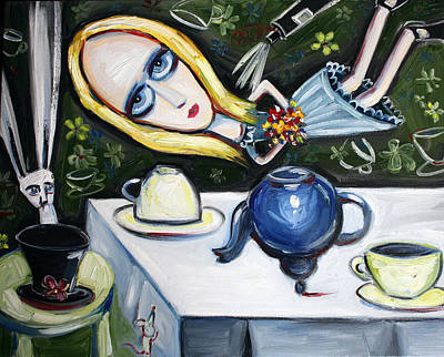 Tea Party Painting - Floating Above It All by Leanne Wilkes