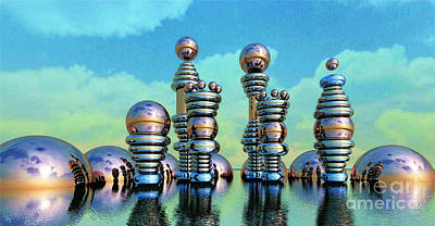 Digital Art - Floating Chrome Towers by Ron Bissett