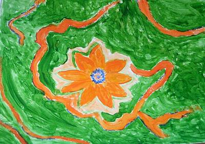 Art Print featuring the painting Floating Flower by Sonali Gangane