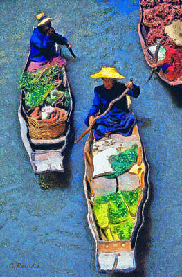 Travel Painting - Floating Market by George Rossidis