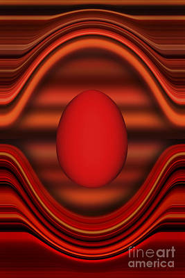 Art Print featuring the digital art Floating Red Egg by Johnny Hildingsson