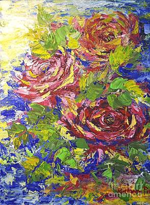 Art Print featuring the painting Floating Roses by Kathleen Pio
