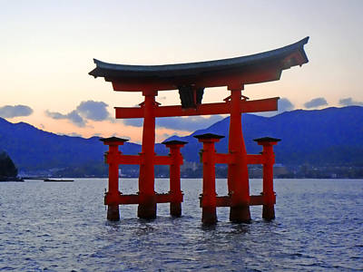 Miyajima Photograph - Floating Tori by Roberto Alamino