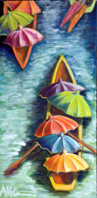 Art Print featuring the painting Floating Umbrellas by AnneKarin Glass
