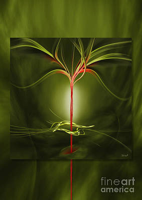 Floating With Red Flow 9 Green Art Print