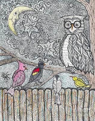 Warbler Mixed Media - Flock Together by Barbra Drasby
