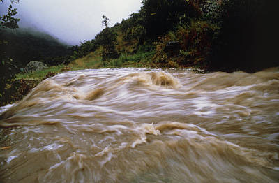 Flooding Photograph - Flooded Stream Pouring Down Steep Slopes In Valley by Dr Morley Read