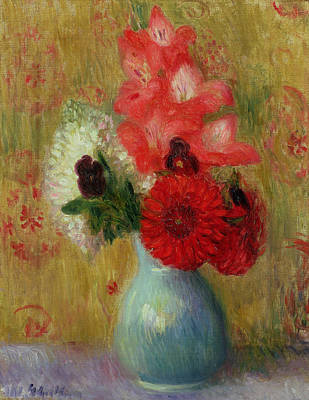 Pottery Painting - Floral Arrangement In Green Vase by William James Glackens