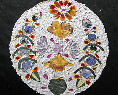 Floral Collage On Handmade Paper No. 2031 Art Print by Mircea Veleanu