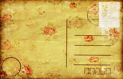 Floral Pattern On Old Postcard Art Print by Setsiri Silapasuwanchai