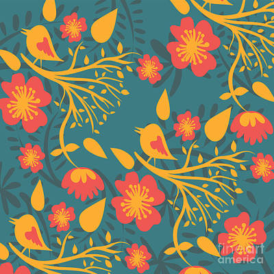 Repeat Digital Art - Floral Pattern With Birds by HD Connelly