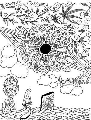 Deep Space Art Drawing - Floral Sun by Andrew Padula