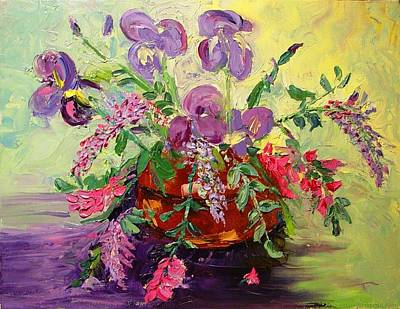 Art Print featuring the painting Floral With Knives by Carol Berning