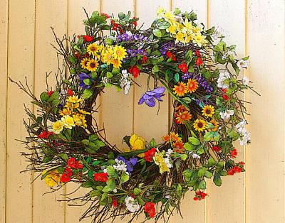 Floral Wreath Art Print by Cindy Haggerty