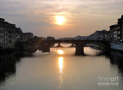 Painting - Florence Italy - Beautiful Arno Sunset by Gregory Dyer