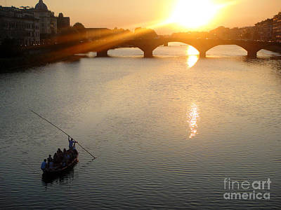 Photograph - Florence Italy - Ponte Vecchio - Sunset - 02 by Gregory Dyer