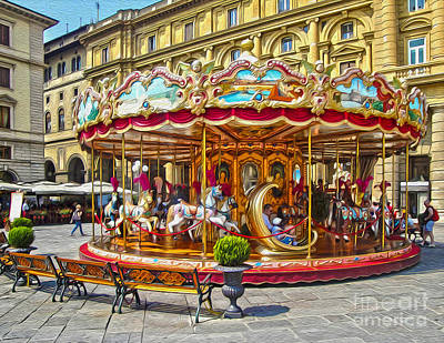 Florence Italy Carousel - 02 Art Print by Gregory Dyer