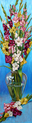 Art Print featuring the painting Floretta's Gladiolus by Nancy Tilles