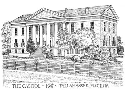 Capitol Building Drawing - Florida Capitol 1847 by Audrey Peaty