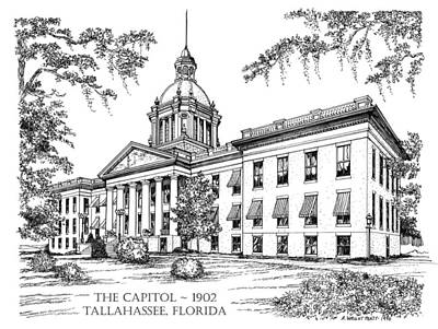 Drawing - Florida Capitol 1902 Ink by Audrey Peaty