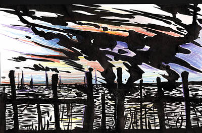 Painting - Florida Dock Sky Ink by John Jr Gholson