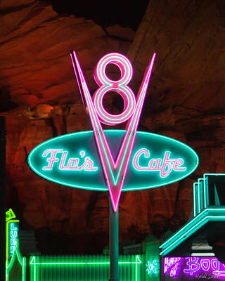 Photograph - Flo's V8 Cafe - Cars Land - Disneyland by Heidi Smith