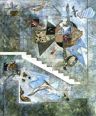 Mural Mixed Media - Flounder. Esquisse For Kindergarten Interior. 1988 by Yuri Yudaev-Racei
