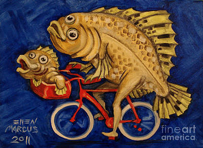 Cycles Painting - Flounder On A Bike by Ellen Marcus