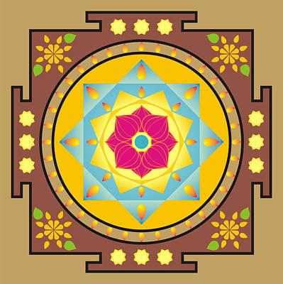 Esoteric Digital Art - Flower And Star Mandala by Steeve Dubois