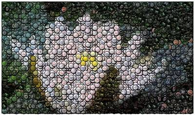 Bottlecap Digital Art - Flower Bottle Cap Mosaic by Paul Van Scott