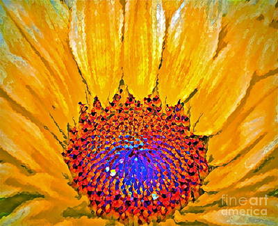 Digital Sunflower Photograph - Flower Child - Flower Power by Gwyn Newcombe