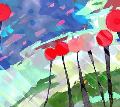 Mixed Media - Flower Field by Mimo Krouzian