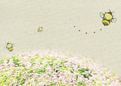 Y120831 Photograph - Flower Fields And Bees by sozaijiten/Datacraft