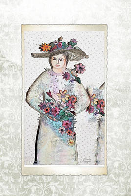 Hats Mixed Media - Flower Girl by Arline Wagner