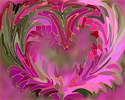 Pinks And Purple Petals Digital Art - Flower Heart by Elizabeth Lautner