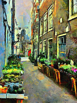 Amsterdam Digital Art - Flower Market In Amsterdam by Yury Malkov