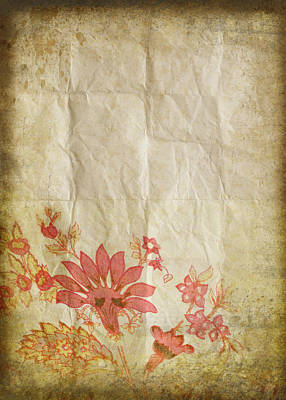 Aging Photograph - Flower Pattern On Old Paper by Setsiri Silapasuwanchai