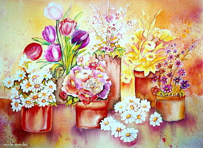 Painting - Flowering Patio Garden  In Clay Pots Montreal Back Yard Floral Watercolor  by Carole Spandau