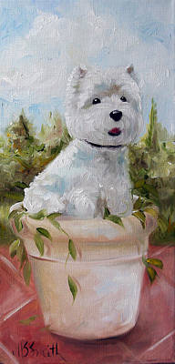 Terrier Painting - Flowerpot by Mary Sparrow