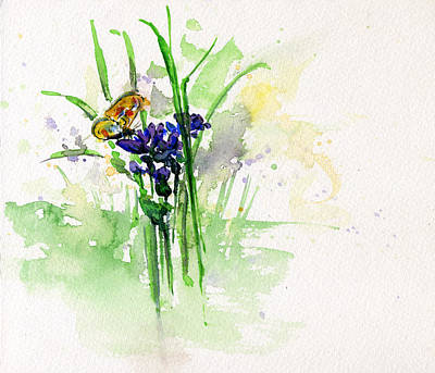 Painting - Flowers And Butterfly by John D Benson