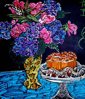 Pastel - Flowers And Cake by Doris  Lane Grey