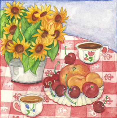 Flowers And Fruit Art Print by Barbara Esposito