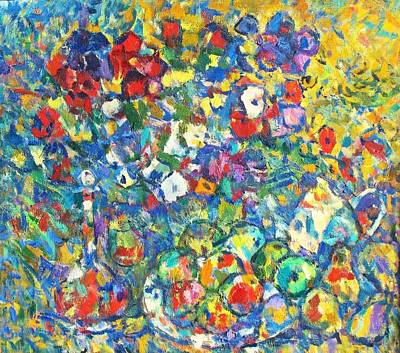 Teapot Painting - Flowers And Fruit by Ivan Filichev