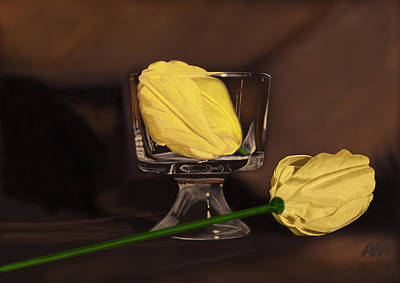 Flowers And Glass Art Print by Tony Malone