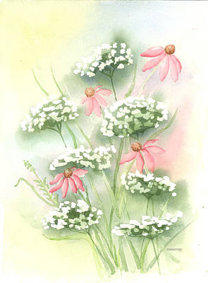 Flowers And Lace Art Print by Susan Mahoney